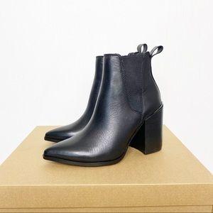 Steve Madden Kason Black Leather Ankle Booties